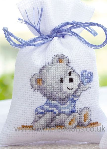 Birth Teddy Pot Pourri Bag Cross Stitch Kit